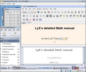 Lyx running on Puppy Linux in Virtual Box
